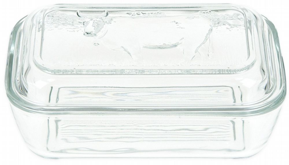French Toughened Glass Cow Butter Dish